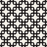 Rounded Cross and Circles Lattice. Vector Seamless Black and White Pattern.