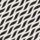 Vector Seamless Diagonal Wavy Shapes Pattern