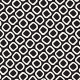 Vector Seamless Black and White Hand Drawn Rounded Rhombus Shapes Pattern