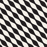 Vector Seamless Black and White Diagonal Wavy Lines Pattern