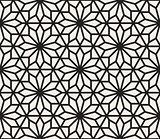 Vector Seamless Black And White Geometric Hexagon Lines Pattern