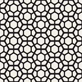 Vector Seamless Black And White Geometric Hexagon Rounded Grid Pattern