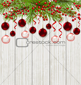 Green fir branch and red decorations
