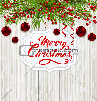 Christmas banner and red decorations