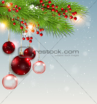 Green fir branch and red decorations.