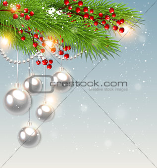 Green fir branch and white decorations.