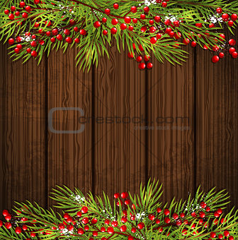 Christmas card with green fir branch