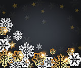 Golden and white paper snowflakes