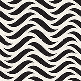 Vector Seamless Black and White Horizontal Wavy Lines Pattern