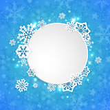 Round Christmas banner with snowflakes