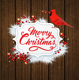 Christmas banner with cardinal bird