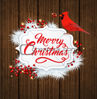 Christmas banner with cardinal bird