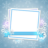 White paper card and snowflakes