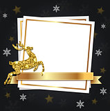 Christmas frame with golden deer