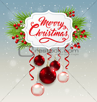 Christmas banner with red decorations