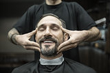 Face massage in barbershop