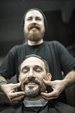 Face massage in barbershop
