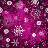 Seamless purple gradient pattern with snowflake