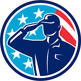 American Soldier Serviceman Saluting Flag Circle Retro