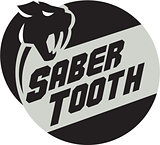 Saber Tooth Tiger Cat Head Circle Retro