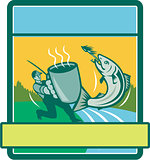 Fly Fisherman Catching Salmon Mug Rectangle Retro