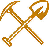 Pick Axe Shovel Crossed Retro