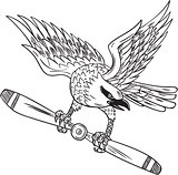 Shrike Clutching Propeller Blade Black and White Drawing