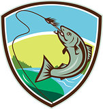 Trout Biting Hook Lure Shield Retro