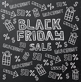 Black Friday Sale Background on Dark Chalkboard.