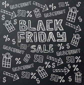 Black Friday Sale Background on Dark Chalkboard.