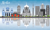 Harbin Skyline with Gray Buildings, Blue Sky and Reflections.