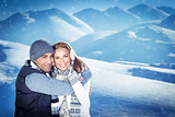 Happy couple on winter resort