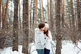 Couple in love having fun in winter