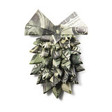 Origami fir-cone of dollar banknotes