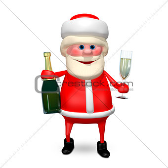 3D Illustration Santa Claus with Champagne