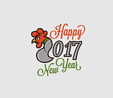 illustration 2017 figures with the rooster logo on the Eastern calendar