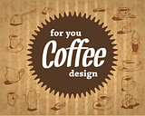 coffee logo on the cardboard background in vintage style with the sweet and fun party design which includes sweets,  cups  inventory.