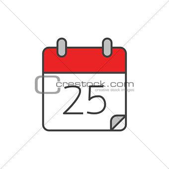 Calendar flat line icon