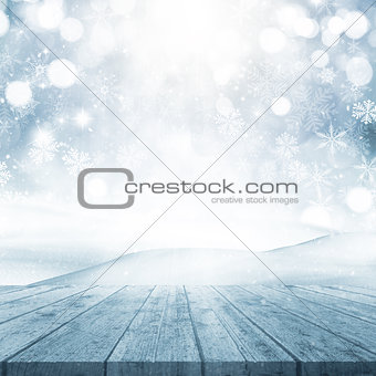 3D Christmas background with wooden table looking out to a snowy