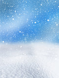 3D Christmas snowy background