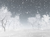 3D winter landscape with snow