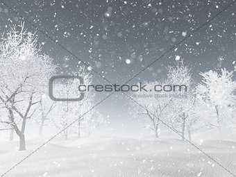 3D winter landscape with snow