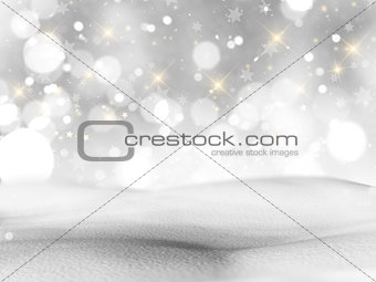 3D snowy landscape with bokeh lights and stars