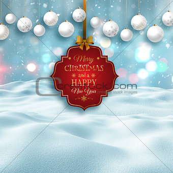 3D snowy landscape with decorative Christmas label and baubles