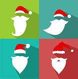 Flat Design Vector Santa Claus Face