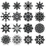 Black snowflakes big set of different variations on white backgr
