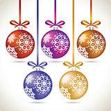 Christmas balls colorful hanging set on tape for christmas tree