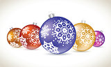 Christmas balls colorful lie set for christmas tree decoration.