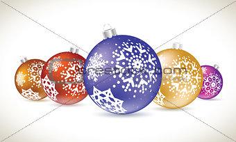 Christmas balls colorful lie set for christmas tree decoration.
