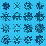 White snowflakes big set of different variations on azure backgr